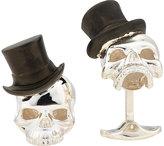 Deakin & Francis Men's Skull & Top Hat Cufflinks-SILVER