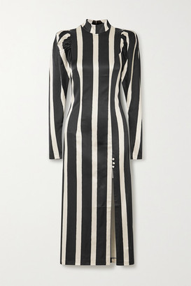 Rotate by Birger Christensen Theresa Striped Stretch-satin Midi Dress - Black