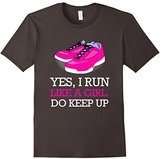 Women's Yes I Run Like A Girl Fitness Gym T-Shirt Large