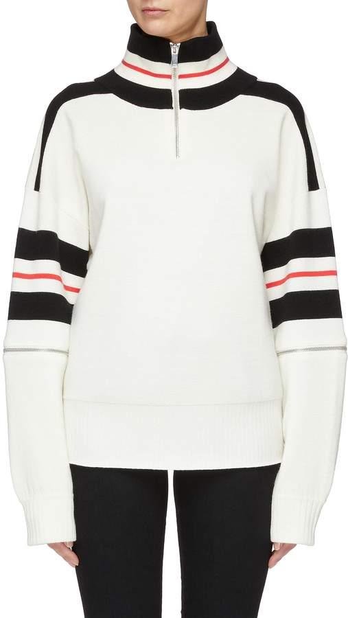 99` zip sleeve colourblock wool blend turtleneck sweater