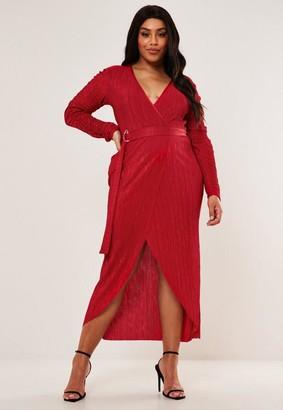 Missguided Plus Size Red Plisse Wrap Midi Dress