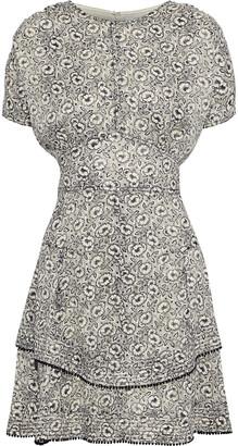 Derek Lam 10 Crosby Gathered Floral-print Fil Coupe Silk-blend Mini Dress