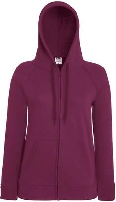 Fruit of the Loom Lady fit Lightweight Zip Hooded Sweatshirt Burgundy M