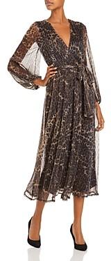 Bardot Pleated Leopard Print Shimmer Dress