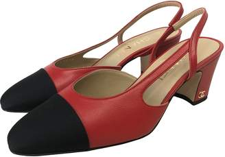 Chanel Slingback Red Leather Heels
