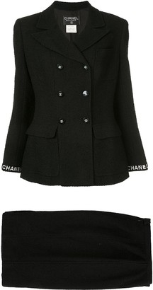 Chanel Pre Owned CC logo long sleeve jacket skirt suits