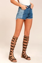 Bamboo Hasna Taupe Suede Tall Gladiator Sandals