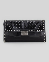 Prada Studded Spazzolato Half-Flap Clutch Bag, Black