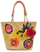 Trina Turk Barbados Embroidered Straw Tote