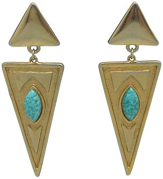 One Kings Lane Vintage Geometric Faux-Turquoise Earrings - Thanks for the Memories