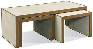 One Kings Lane Zaine Faux-Shagreen Nesting Tables - Gray