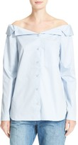 Tibi Women's Notch Collar Off The Shoulder Poplin Shirt
