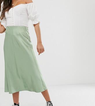 New Look satin bias cut midi skirt in light green
