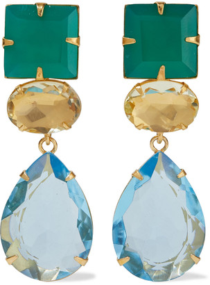 Bounkit Convertible 14-karat Gold-plated, Onyx And Quartz Earrings