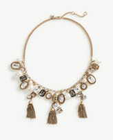 Ann Taylor Crystal Tassel Statement Necklace