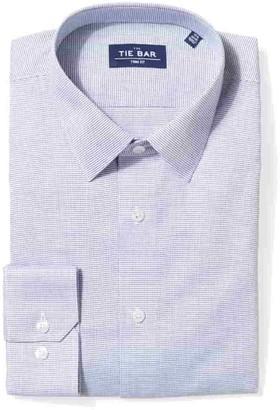 Tie Bar Micro Houndstooth Geo Navy Non-Iron Dress Shirt