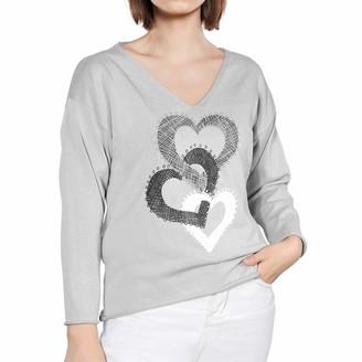 SHIJZWD Women's V-Neck Sweater Long Sleeve Heart Print Knitted Sweaters Lightweight Warm Ladies Jumper Knitwear Tops (L) Grey