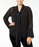Rachel Roy Curvy Trendy Plus Size Tie-Neck Blouse, Only at Macy's