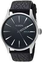 Nixon Mens Sentry Leather Japanese quartz Leather watches Black / Gunmetal / Black A105