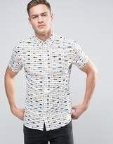 Solid Short Sleeved Shirt In All Over Print