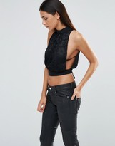 Love High Neck Tie Back Top With Lace Detail