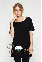 B-Sharp Collection Supima Cotton Tunic Casual Short Sleeve Black Solid Tops.