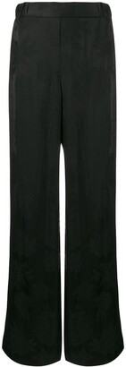 Salvatore Ferragamo Tonal Floral High-Rise Trousers