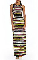 Jones New York Vista Stripe Print Knit Jersey Waist Tie Maxi Dress
