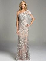Lara Dresses - Strapless Asymmetric Long Floral Gown 33212