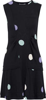 Derek Lam 10 Crosby Ruched Polka-dot Cotton-jersey Mini Dress