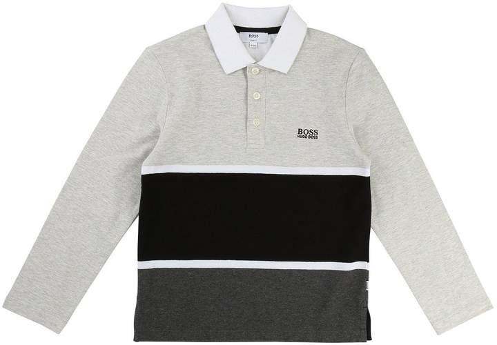 BOSS Boys Colourblock Long Sleeve Polo