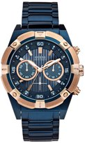 GUESS Blue and Rose Gold-Tone Bold Masculine Watch