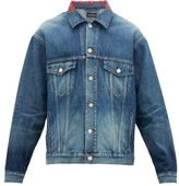 Balenciaga Logo-embroidered Collar Cotton-denim Jacket - Mens - Dark Blue