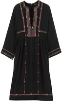 Isabel Marant Clayne Embroidered Silk-bourette Dress - Black
