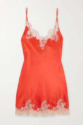 I.D. Sarrieri Chantilly Lace-trimmed Silk-blend Satin Chemise - Orange