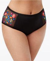 Kenneth Cole Reaction Curvy Plus Size Embroidered High-Waist Bikini Briefs Women's Swimsuit