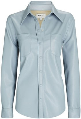 AGOLDE Paloma Vegan Leather Button-Down Shirt