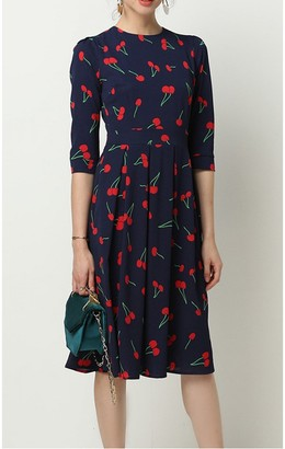 FS Collection Navy & Red Cherry Printed Three Quarter Sleeve Pleated Dress