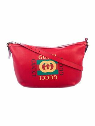 Gucci Logo Print Half Moon Hobo w/ Tags Red