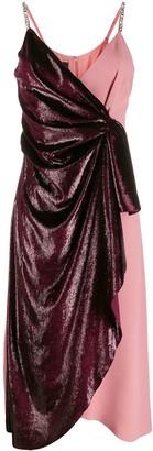 Pinko contrast wrap midi dress