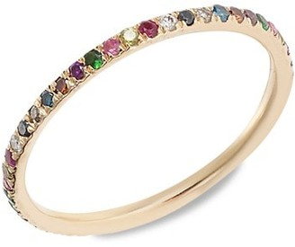 Ileana Makri Classic 18K Rose Gold & Multi-Stone Thread Rainbow Ring