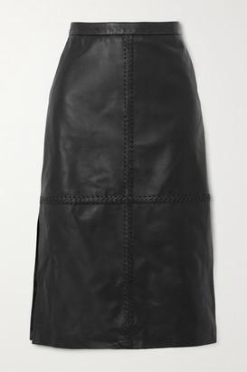 Altuzarra Mooney Whipstitched Leather Midi Skirt - Black