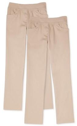 Wonder Nation Girls Plus School Uniform Pull-On Pants, 2-Pack Value Bundle, Sizes 8-20