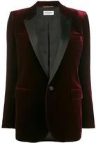 Saint Laurent velvet-effect single-breasted blazer