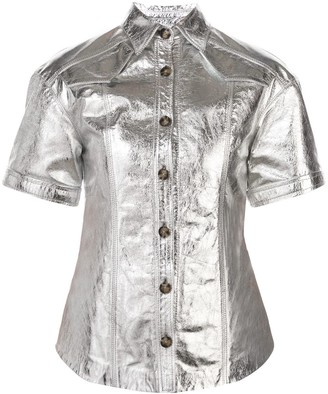 Proenza Schouler Metallic Short Sleeve Top
