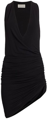 Alexandre Vauthier Deep V-Neck Ruched Asymmetric Dress