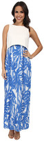 Donna Morgan Scuba Knit Maxi with Crop Top and Pleated Chiffon Skirt