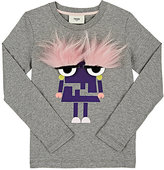 Fendi Monster Eyes Long-Sleeve T-Shirt-GREY