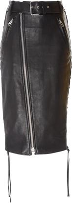 Balenciaga Zip-Detailed Leather Skirt