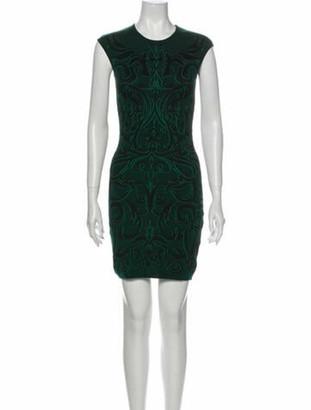 Alexander McQueen Lace Pattern Mini Dress Green